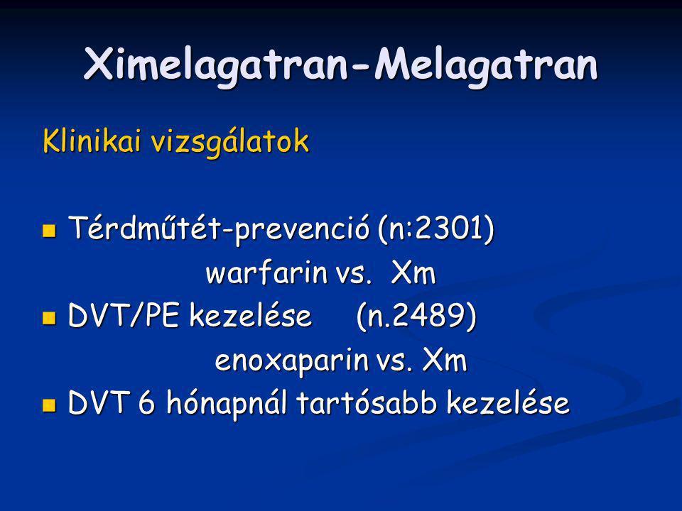 Ximelagatran-Melagatran Klinikai vizsgálatok Térdműtét-prevenció (n:2301) Térdműtét-prevenció (n:2301) warfarin vs. Xm warfarin vs. Xm DVT/PE kezelése