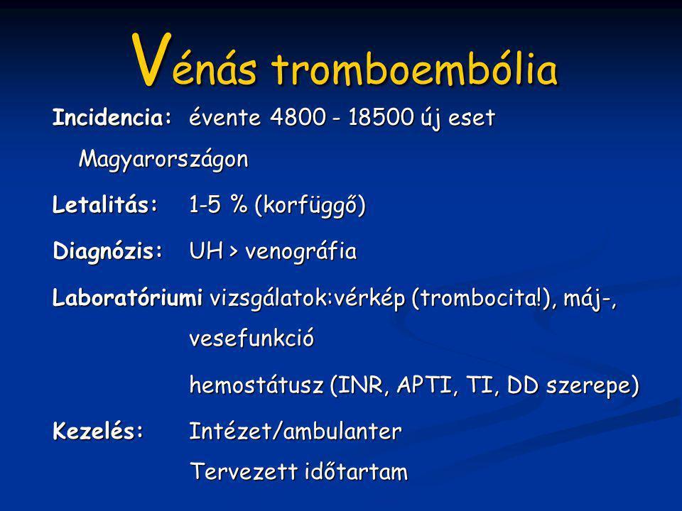 V énás tromboembólia Incidencia:évente 4800 - 18500 új eset Magyarországon Letalitás: 1-5 % (korfüggő) Diagnózis:UH > venográfia Laboratóriumi vizsgál