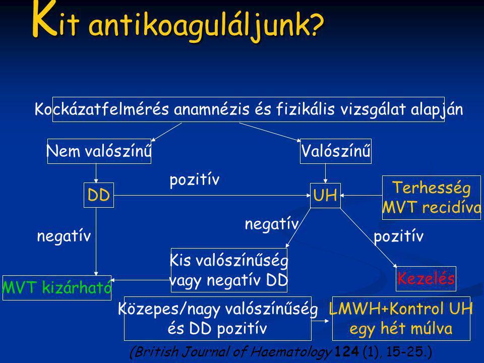 K it antikoaguláljunk? Kockázatfelmérés anamnézis és fizikális vizsgálat alapján Nem valószínűValószínű UH DD MVT kizárható negatív pozitív negatív Ke