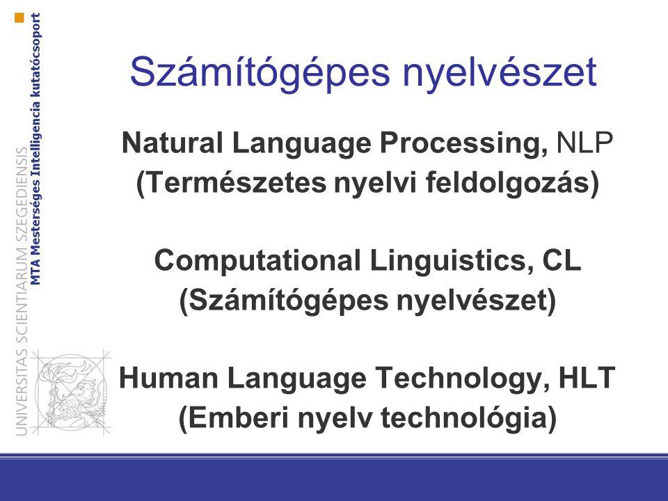 Natural Language Processing, NLP (Természetes nyelvi feldolgozás) Computational Linguistics, CL (Számítógépes nyelvészet) Human Language Technology, HLT (Emberi nyelv technológia) Számítógépes nyelvészet