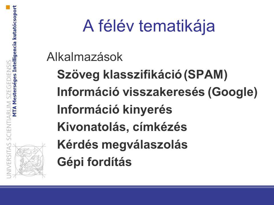 A félév tematikája Alkalmazások Szöveg klasszifikáció(SPAM) Információ visszakeresés (Google) Információ kinyerés Kivonatolás, címkézés Kérdés megválaszolás Gépi fordítás