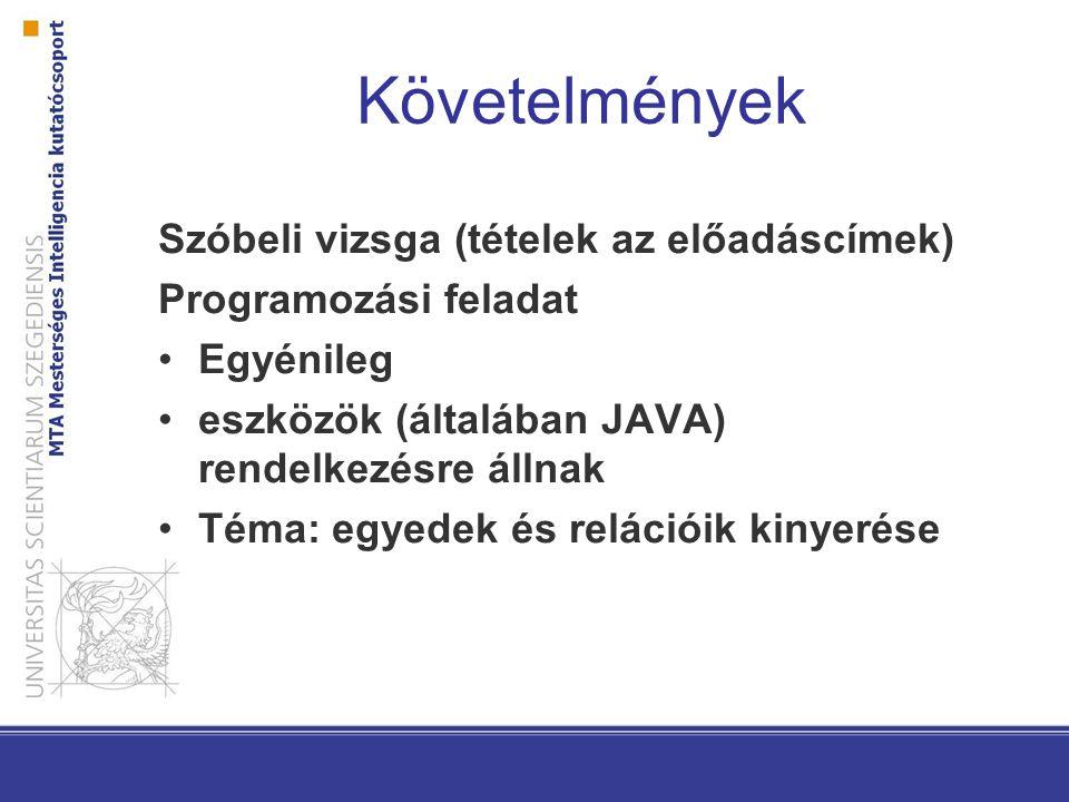 Követelmények Szóbeli vizsga (tételek az előadáscímek) Programozási feladat Egyénileg eszközök (általában JAVA) rendelkezésre állnak Téma: egyedek és relációik kinyerése
