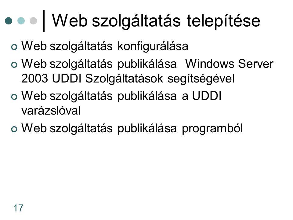 17 Web szolgáltatás telepítése Web szolgáltatás konfigurálása Web szolgáltatás publikálása Windows Server 2003 UDDI Szolgáltatások segítségével Web szolgáltatás publikálása a UDDI varázslóval Web szolgáltatás publikálása programból