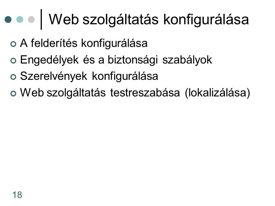 18 Web szolgáltatás konfigurálása A felderítés konfigurálása Engedélyek és a biztonsági szabályok Szerelvények konfigurálása Web szolgáltatás testreszabása (lokalizálása)