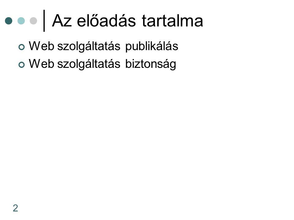 2 Az előadás tartalma Web szolgáltatás publikálás Web szolgáltatás biztonság