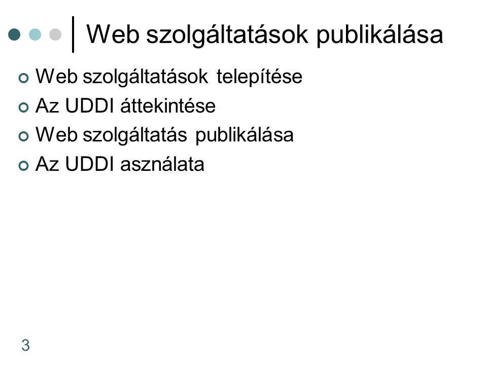 3 Web szolgáltatások publikálása Web szolgáltatások telepítése Az UDDI áttekintése Web szolgáltatás publikálása Az UDDI asználata