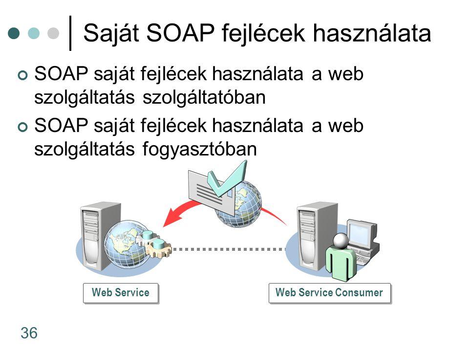 36 Saját SOAP fejlécek használata SOAP saját fejlécek használata a web szolgáltatás szolgáltatóban SOAP saját fejlécek használata a web szolgáltatás fogyasztóban Web Service Consumer Web Service