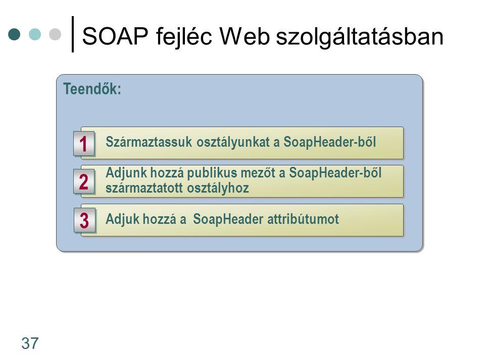 37 SOAP fejléc Web szolgáltatásban Teendők: Származtassuk osztályunkat a SoapHeader-ből 1 1 Adjuk hozzá a SoapHeader attribútumot 3 3 Adjunk hozzá publikus mezőt a SoapHeader-ből származtatott osztályhoz 2 2
