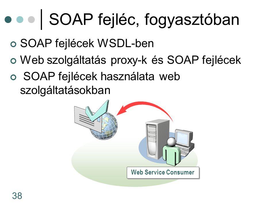 38 SOAP fejlécek WSDL-ben Web szolgáltatás proxy-k és SOAP fejlécek SOAP fejlécek használata web szolgáltatásokban SOAP fejléc, fogyasztóban Web Service Consumer