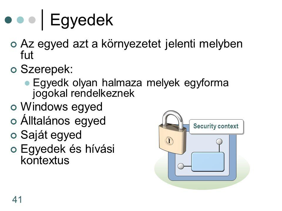 41 Egyedek Az egyed azt a környezetet jelenti melyben fut Szerepek: Egyedk olyan halmaza melyek egyforma jogokal rendelkeznek Windows egyed Álltalános egyed Saját egyed Egyedek és hívási kontextus Security context