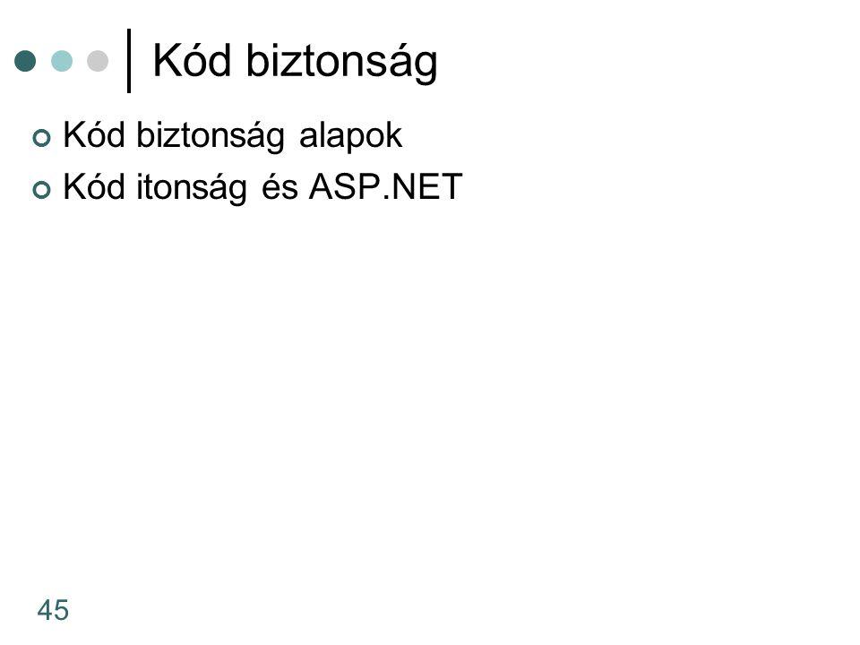 45 Kód biztonság Kód biztonság alapok Kód itonság és ASP.NET