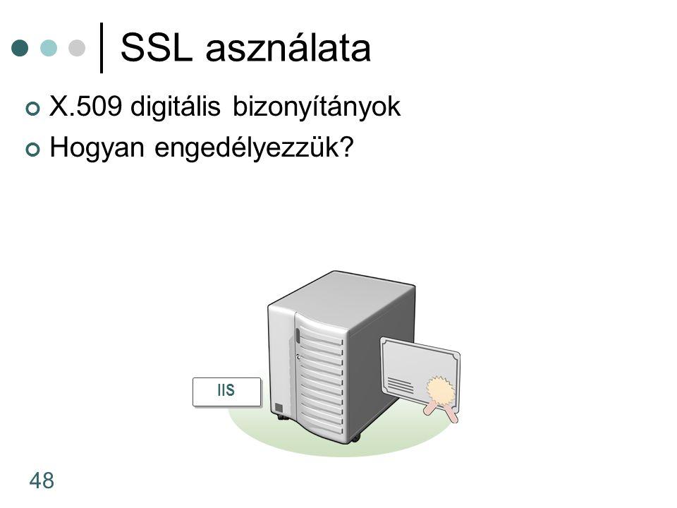48 SSL asználata X.509 digitális bizonyítányok Hogyan engedélyezzük IIS