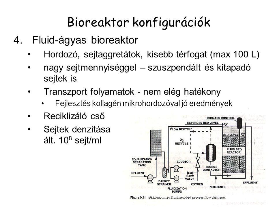 4.Fluid-ágyas bioreaktor Hordozó, sejtaggretátok, kisebb térfogat (max 100 L) nagy sejtmennyiséggel – szuszpendált és kitapadó sejtek is Transzport folyamatok - nem elég hatékony Fejlesztés kollagén mikrohordozóval jó eredmények Reciklizáló cső Sejtek denzitása ált.