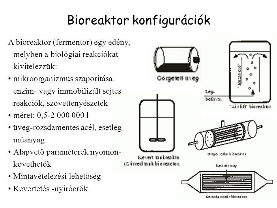 Bioreaktor konfigurációk A bioreaktor (fermentor) egy edény, melyben a biológiai reakciókat kivitelezzük: mikroorganizmus szaporítása, enzim- vagy immobilizált sejtes reakciók, szövettenyészetek méret: 0,5-2 000 000 l üveg-rozsdamentes acél, esetleg műanyag Alapvető paraméterek nyomon- követhetők Mintavételezési lehetőség Kevertetés -nyíróerők