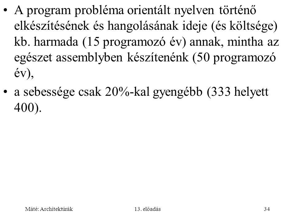 Máté: Architektúrák13. előadás34 A program probléma orientált nyelven történő elkészítésének és hangolásának ideje (és költsége) kb. harmada (15 progr