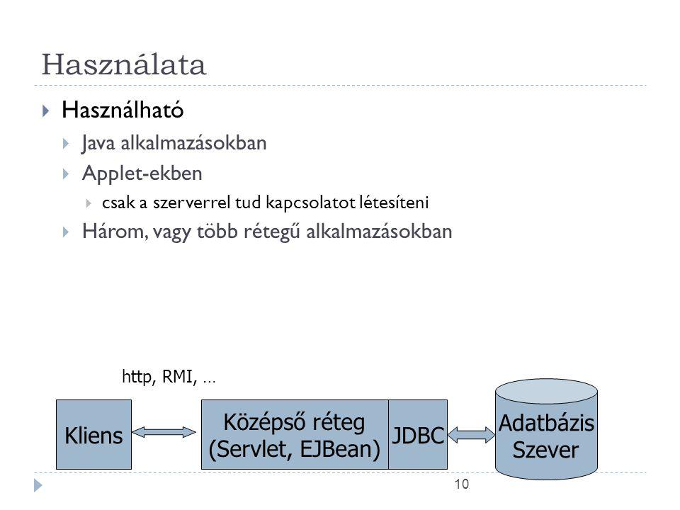 10 Használata  Használható  Java alkalmazásokban  Applet-ekben  csak a szerverrel tud kapcsolatot létesíteni  Három, vagy több rétegű alkalmazásokban Kliens Középső réteg (Servlet, EJBean) Adatbázis Szever JDBC http, RMI, …