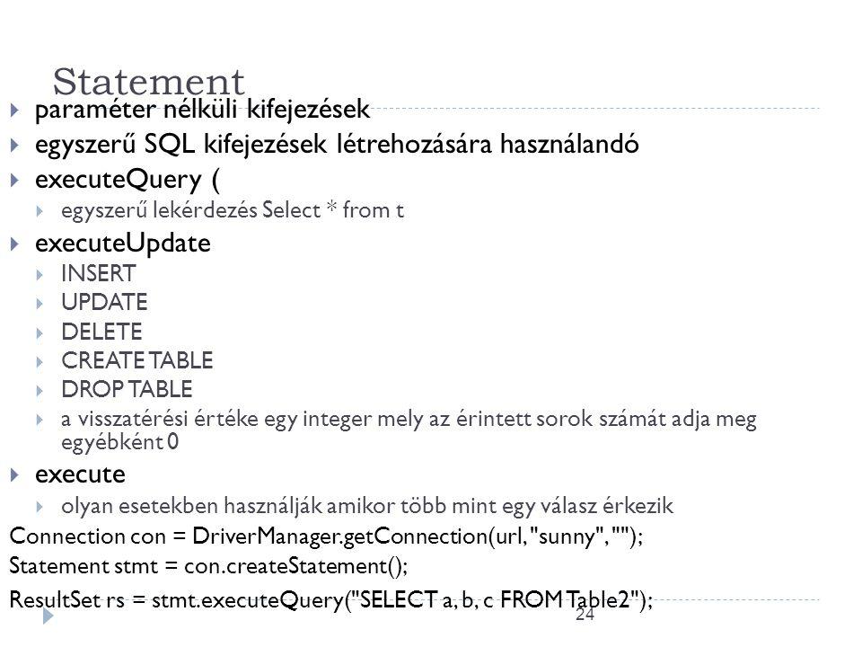 24 Statement  paraméter nélküli kifejezések  egyszerű SQL kifejezések létrehozására használandó  executeQuery (  egyszerű lekérdezés Select * from t  executeUpdate  INSERT  UPDATE  DELETE  CREATE TABLE  DROP TABLE  a visszatérési értéke egy integer mely az érintett sorok számát adja meg egyébként 0  execute  olyan esetekben használják amikor több mint egy válasz érkezik Connection con = DriverManager.getConnection(url, sunny , ); Statement stmt = con.createStatement(); ResultSet rs = stmt.executeQuery( SELECT a, b, c FROM Table2 );