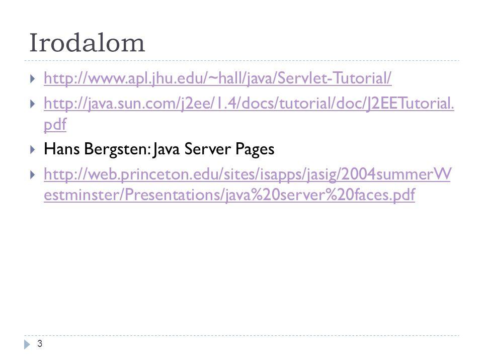 Irodalom 3  http://www.apl.jhu.edu/~hall/java/Servlet-Tutorial/ http://www.apl.jhu.edu/~hall/java/Servlet-Tutorial/  http://java.sun.com/j2ee/1.4/docs/tutorial/doc/J2EETutorial.