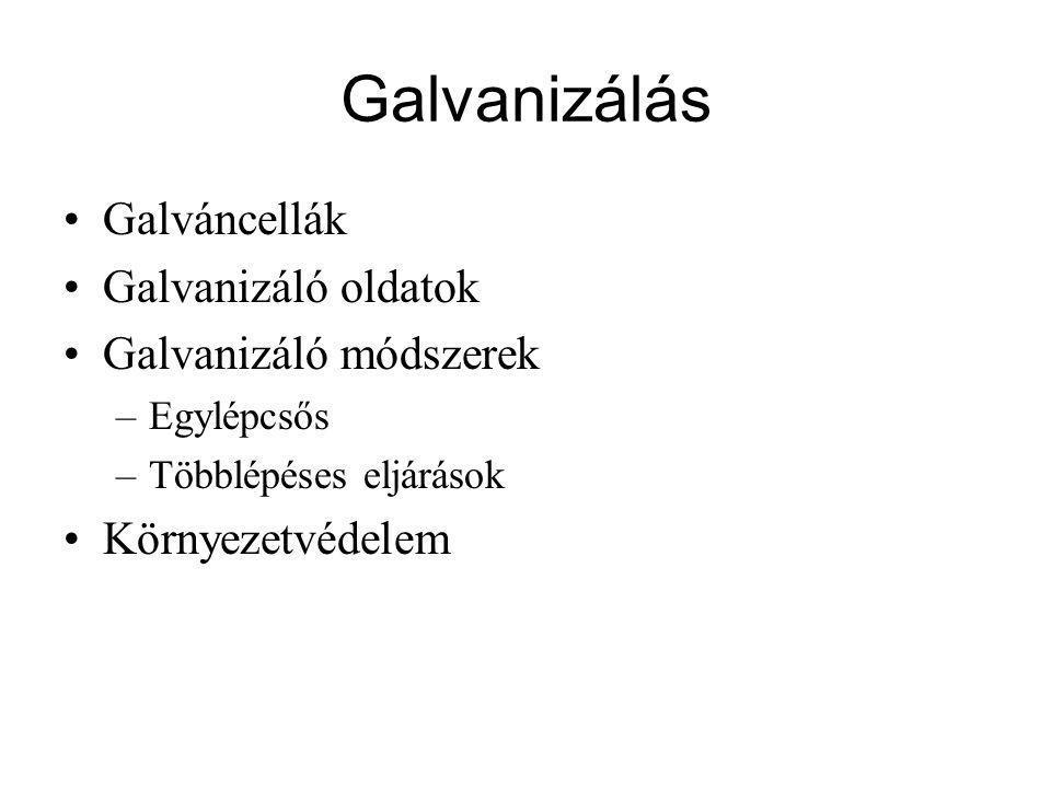 Galvanizálás Galváncellák Galvanizáló oldatok Galvanizáló módszerek –Egylépcsős –Többlépéses eljárások Környezetvédelem
