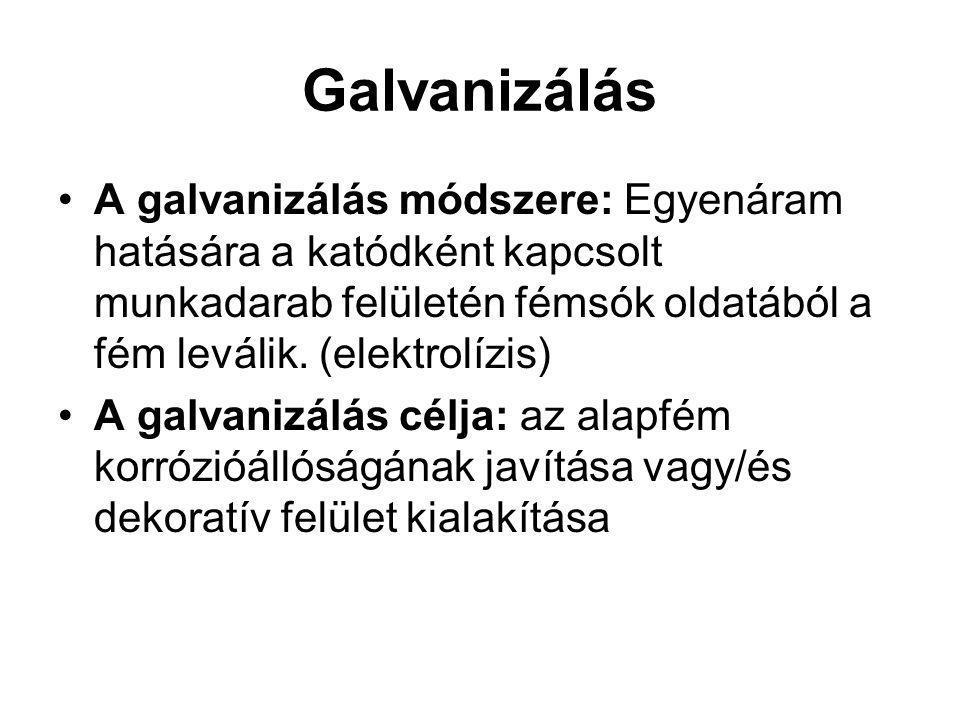 Galvanizálás A galvanizálás módszere: Egyenáram hatására a katódként kapcsolt munkadarab felületén fémsók oldatából a fém leválik.