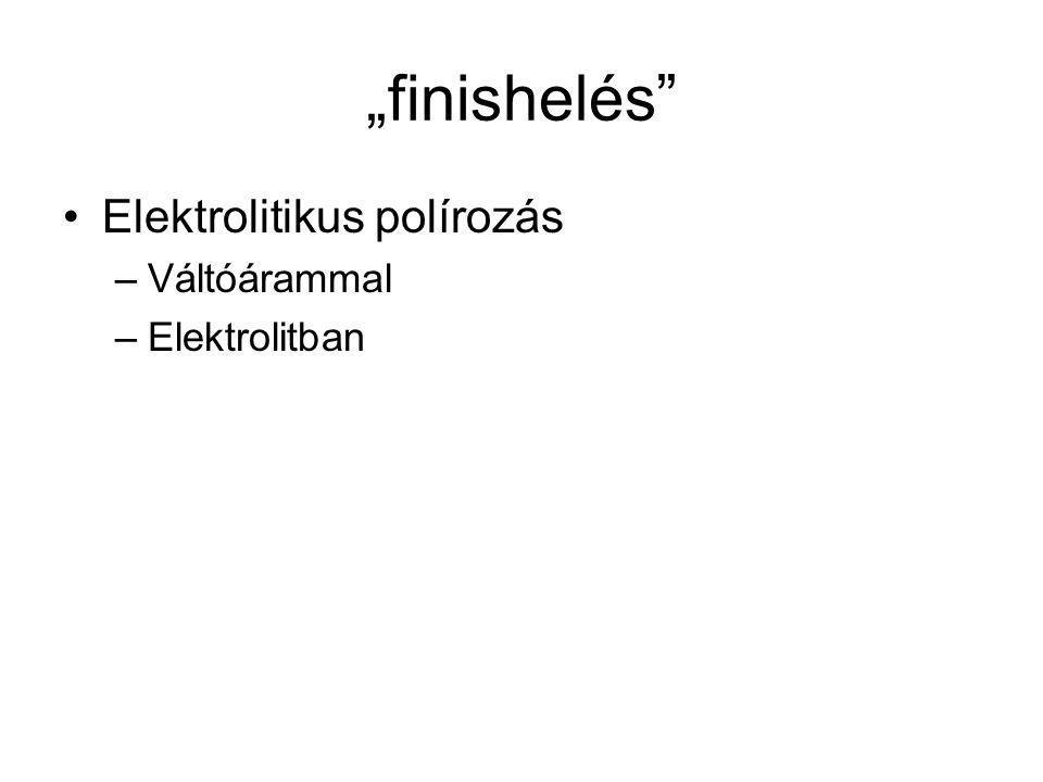 """""""finishelés Elektrolitikus polírozás –Váltóárammal –Elektrolitban"""