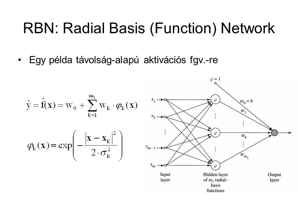 RBN: Radial Basis (Function) Network Egy példa távolság-alapú aktivációs fgv.-re