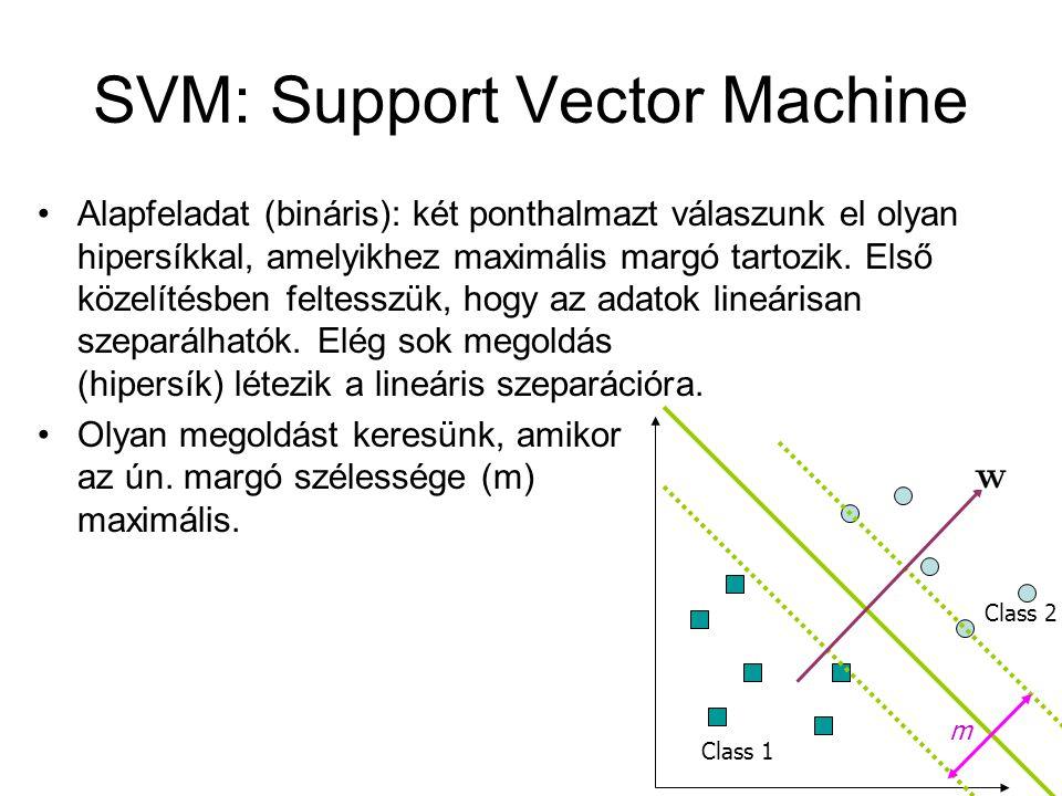 SVM: Support Vector Machine Alapfeladat (bináris): két ponthalmazt válaszunk el olyan hipersíkkal, amelyikhez maximális margó tartozik.