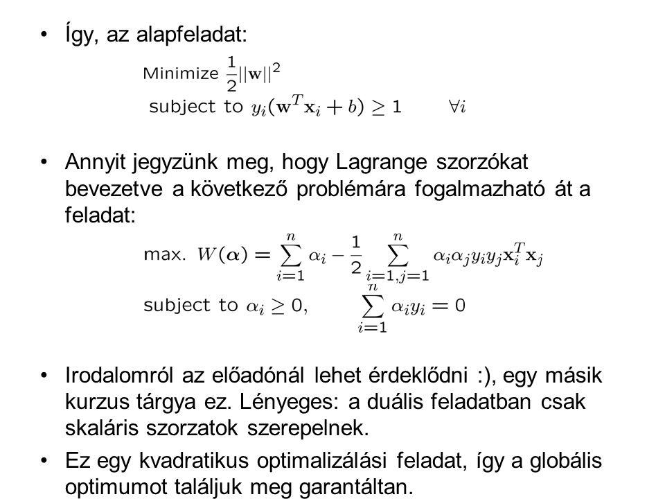 Így, az alapfeladat: Annyit jegyzünk meg, hogy Lagrange szorzókat bevezetve a következő problémára fogalmazható át a feladat: Irodalomról az előadónál