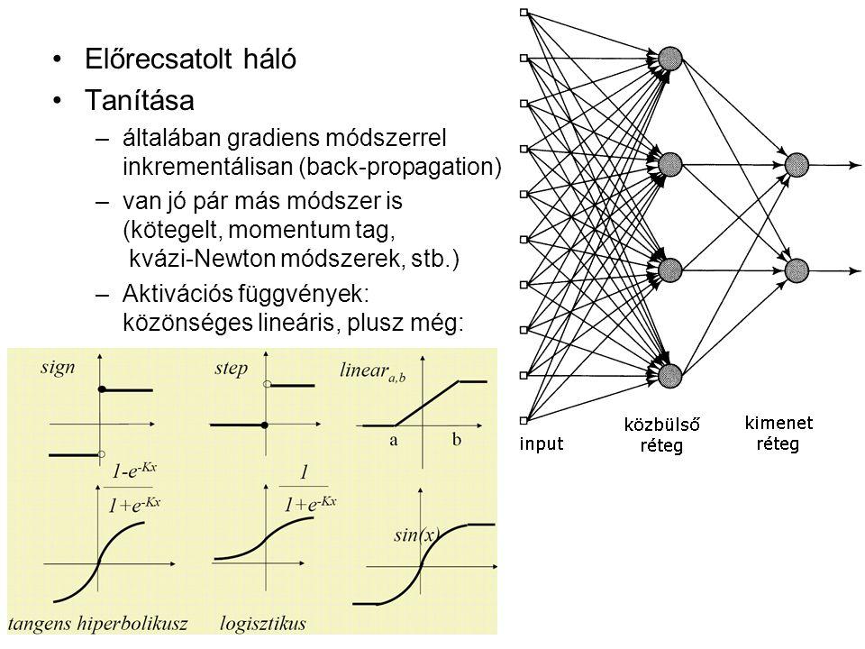 Előrecsatolt háló Tanítása –általában gradiens módszerrel inkrementálisan (back-propagation) –van jó pár más módszer is (kötegelt, momentum tag, kvázi-Newton módszerek, stb.) –Aktivációs függvények: közönséges lineáris, plusz még: