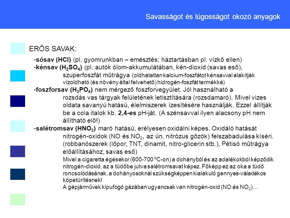 Savasságot és lúgosságot okozó anyagok ERŐS SAVAK: -sósav (HCl) (pl. gyomrunkban – emésztés; háztartásban pl. vízkő ellen) -kénsav (H 2 SO 4 ) (pl. au