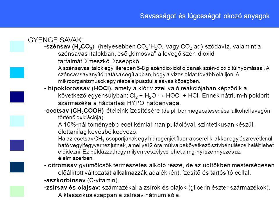 GYENGE SAVAK: Savasságot és lúgosságot okozó anyagok -szénsav (H 2 CO 3 ), (helyesebben CO 2 *H 2 O, vagy CO 2,aq) szódavíz, valamint a szénsavas ital
