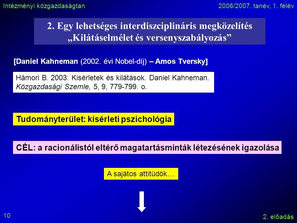 Intézményi közgazdaságtan2006/2007. tanév, 1. félév 2.