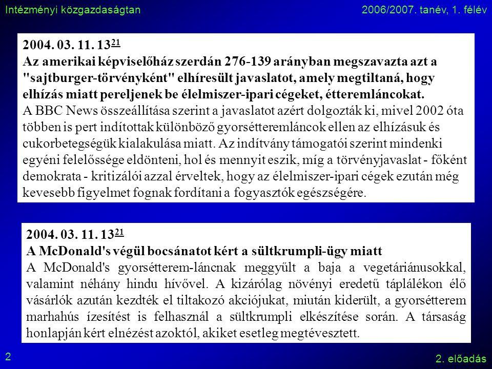 Intézményi közgazdaságtan2006/2007.tanév, 1. félév 2.