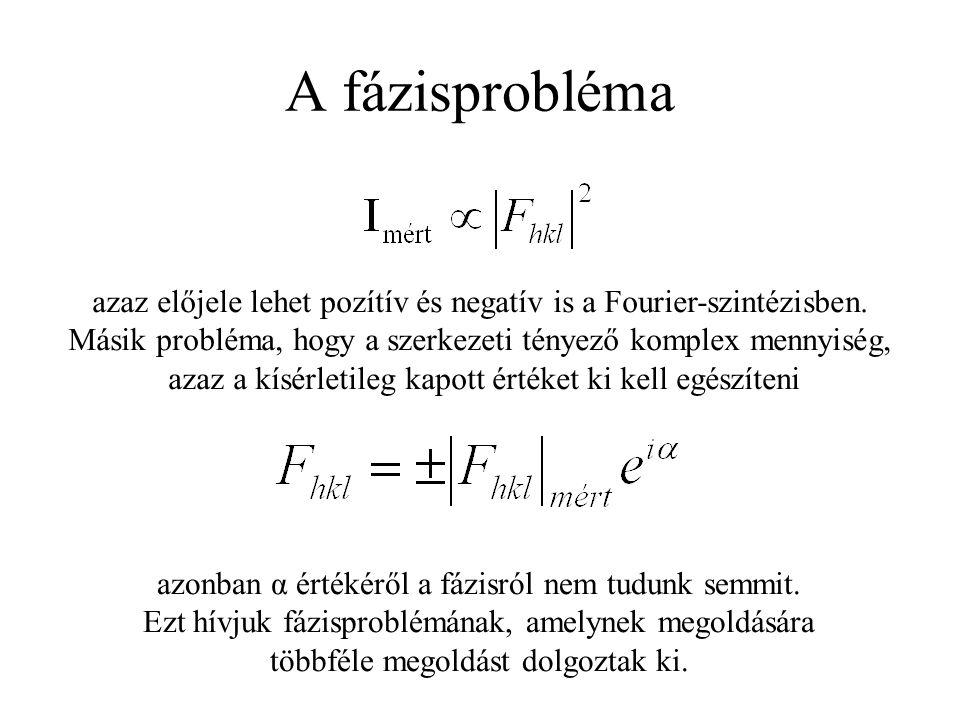 A fázisprobléma azaz előjele lehet pozítív és negatív is a Fourier-szintézisben.