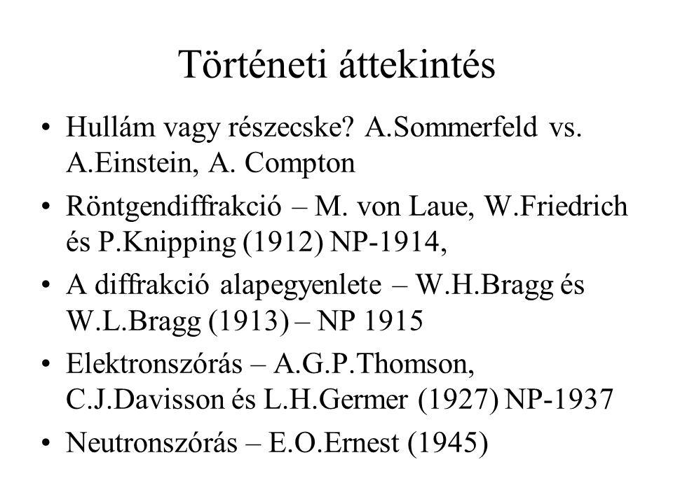 Történeti áttekintés Hullám vagy részecske.A.Sommerfeld vs.