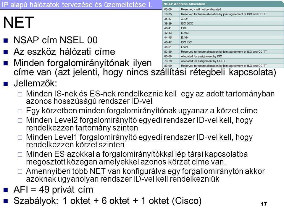 IP alapú hálózatok tervezése és üzemeltetése I. 17 NET NSAP cím NSEL 00 Az eszköz hálózati címe Minden forgalomirányítónak ilyen címe van (azt jelenti