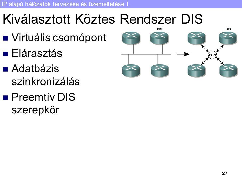 IP alapú hálózatok tervezése és üzemeltetése I. 27 Kiválasztott Köztes Rendszer DIS Virtuális csomópont Elárasztás Adatbázis szinkronizálás Preemtív D