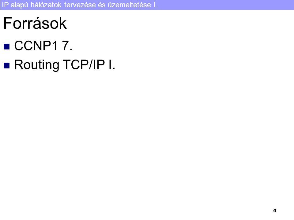 IP alapú hálózatok tervezése és üzemeltetése I. 4 Források CCNP1 7. Routing TCP/IP I.