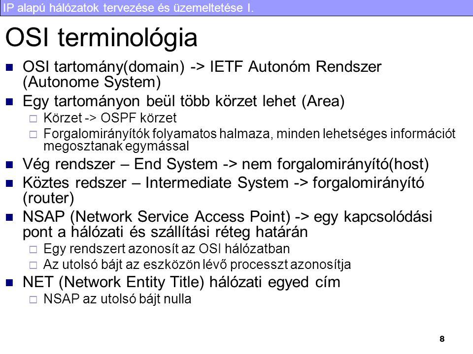 IP alapú hálózatok tervezése és üzemeltetése I. 8 OSI terminológia OSI tartomány(domain) -> IETF Autonóm Rendszer (Autonome System) Egy tartományon be