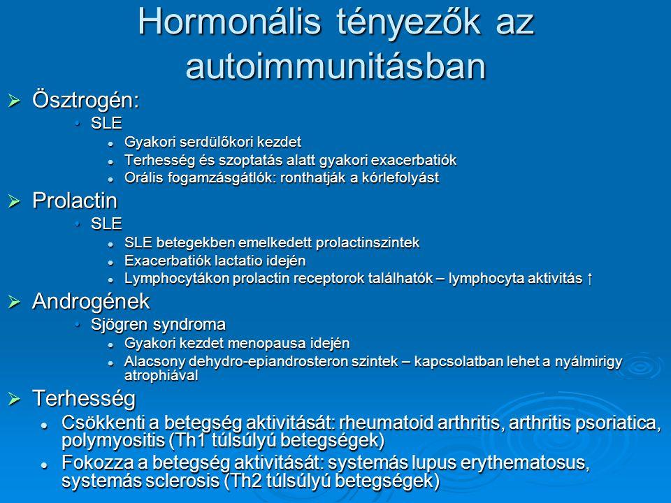 Hormonális tényezők az autoimmunitásban  Ösztrogén: SLESLE Gyakori serdülőkori kezdet Gyakori serdülőkori kezdet Terhesség és szoptatás alatt gyakori