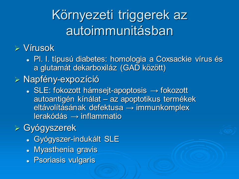 Környezeti triggerek az autoimmunitásban  Vírusok Pl. I. típusú diabetes: homologia a Coxsackie vírus és a glutamát dekarboxiláz (GAD között) Pl. I.