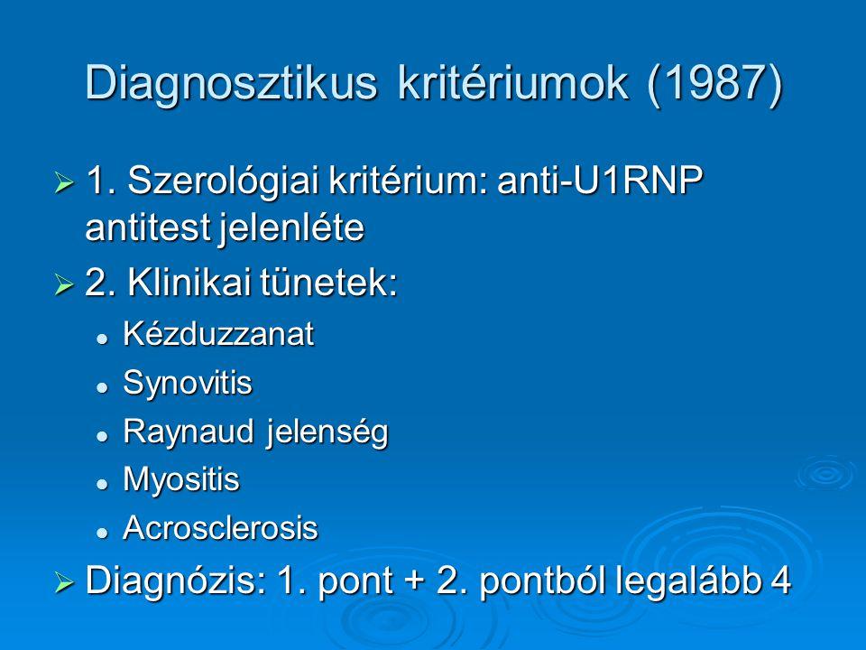 Diagnosztikus kritériumok (1987)  1. Szerológiai kritérium: anti-U1RNP antitest jelenléte  2. Klinikai tünetek: Kézduzzanat Kézduzzanat Synovitis Sy