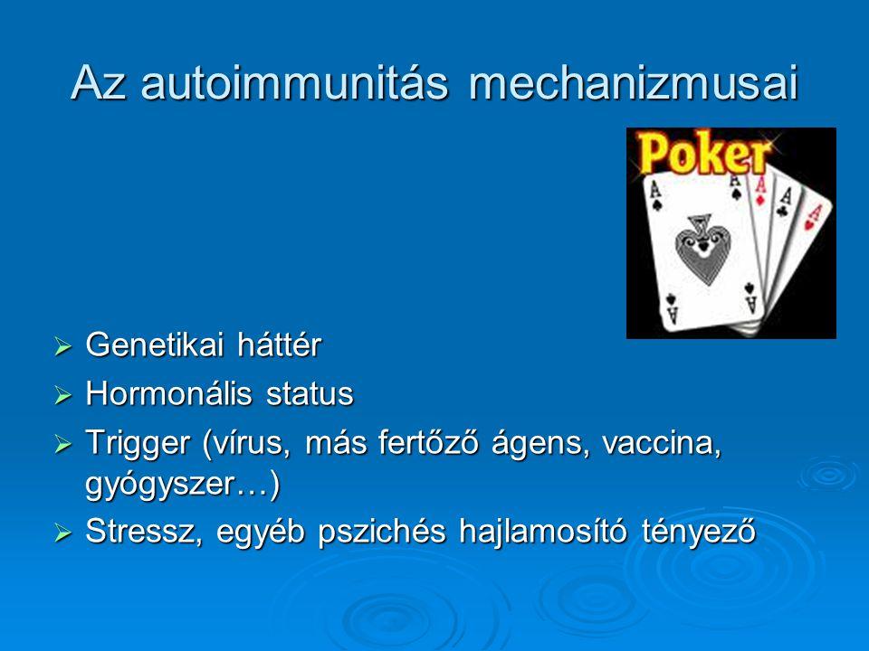 Az autoimmunitás mechanizmusai  Genetikai háttér  Hormonális status  Trigger (vírus, más fertőző ágens, vaccina, gyógyszer…)  Stressz, egyéb pszic