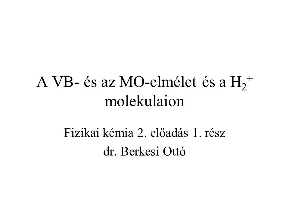A VB- és az MO-elmélet és a H 2 + molekulaion Fizikai kémia 2. előadás 1. rész dr. Berkesi Ottó