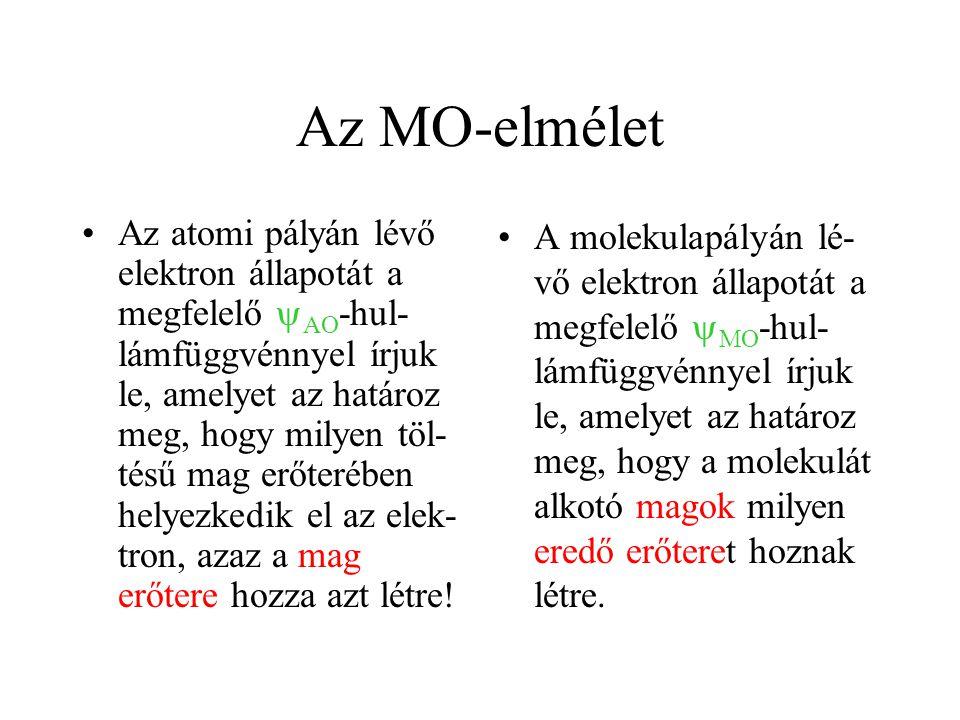 Az MO-elmélet Az atomi pályán lévő elektron állapotát a megfelelő  AO -hul- lámfüggvénnyel írjuk le, amelyet az határoz meg, hogy milyen töl- tésű mag erőterében helyezkedik el az elek- tron, azaz a mag erőtere hozza azt létre.