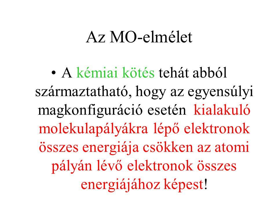 Az MO-elmélet A kémiai kötés tehát abból származtatható, hogy az egyensúlyi magkonfiguráció esetén kialakuló molekulapályákra lépő elektronok összes energiája csökken az atomi pályán lévő elektronok összes energiájához képest!