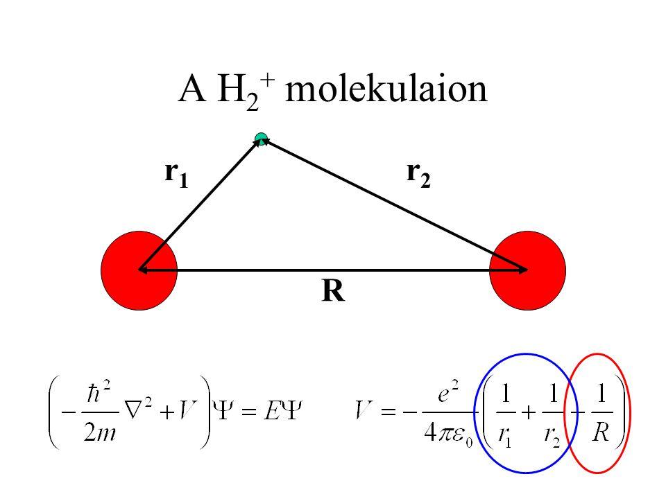 A H 2 + molekulaion R r1r1 r2r2