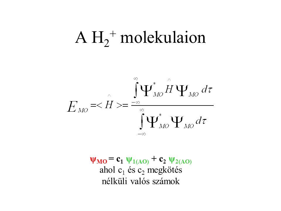 ψ MO = c 1 ψ 1(AO) + c 2 ψ 2(AO) ahol c 1 és c 2 megkötés nélküli valós számok