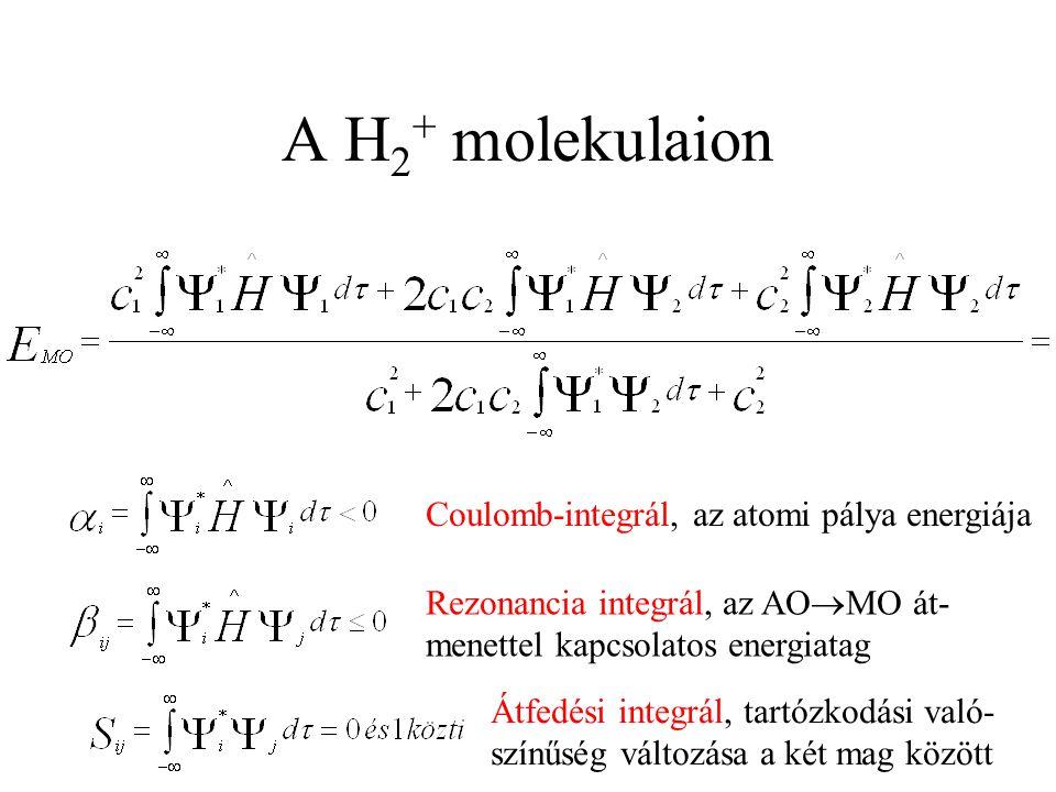 A H 2 + molekulaion Coulomb-integrál, az atomi pálya energiája Rezonancia integrál, az AO  MO át- menettel kapcsolatos energiatag Átfedési integrál, tartózkodási való- színűség változása a két mag között