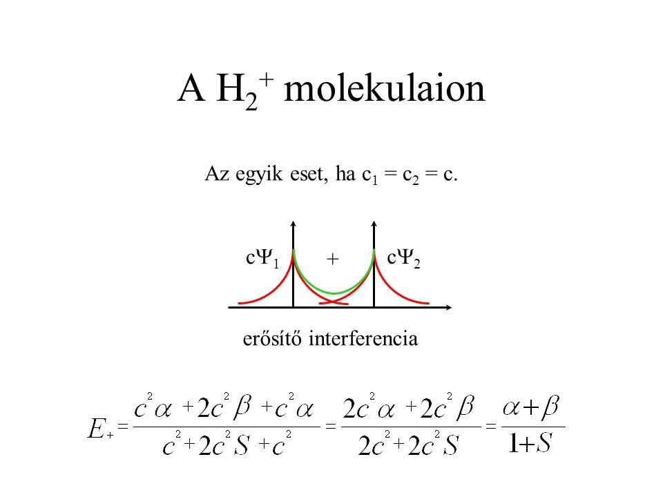 A H 2 + molekulaion Az egyik eset, ha c 1 = c 2 = c. c1c1 c2c2 + erősítő interferencia